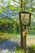 Sign nature reserve, austria Stock Photos