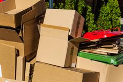Waste paper from cardboard boxes Stock Photos