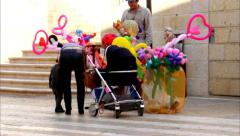 Street vendor rubber toys on the  Mamilla street in West Jerusalem  2 Stock Footage