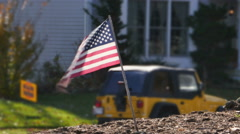 2572 American Flag in Font Yard, HD - stock footage