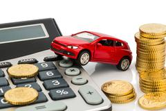 Cost of the car. with calculator Stock Photos