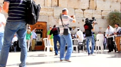 Process of receiving Torah in  closet at Western Wall for  Bar Mitzvah  ritual Stock Footage