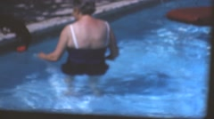 Vintage home movies, grandmother swimming suit Stock Footage
