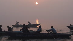Sunrise Over the Sacred Ganges River in Varanasi, Uttar Pradesh, India Stock Footage