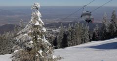 Skier Deep Snow Powder Extreme Freeride Chairlift Winter Mountain Ski Resort Day - stock footage