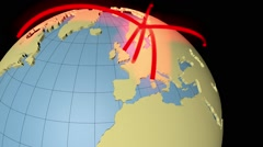 Animated network around the wolrd Stock Footage