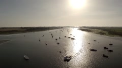 Boats in Estuary - stock footage