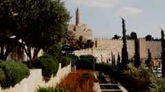 Old city walls near David tower and Jaffa gate. Jerusalem. Israel Stock Footage