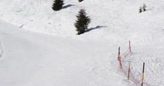 Skier Free Ride Approaching Mountain Slope Winter Snow Covered Extreme Sport Ski Stock Footage