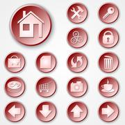 Vector abstract red round paper icon set - stock illustration