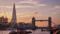 Stock Video Footage of Perfect Sunset with London Tower Bridge, Shard
