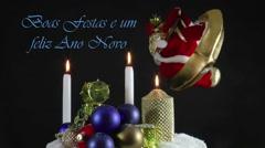 Portuguese , Boas Festas e um feliz Ano Novo Stock Footage
