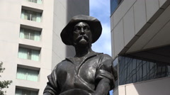 Commerce statue of prospector in independence square, charlotte, nc, usa Stock Footage