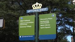 Uptown west street sign, independence square, charlotte, nc, usa Stock Footage