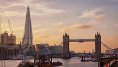 Perfect Sunset with London Tower Bridge, Shard - stock footage