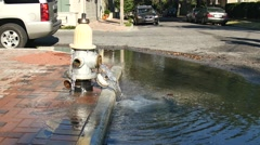 Fire Hydrant spilling water Stock Footage