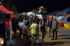 surfers paradise beachfront markets - australia - stock photo
