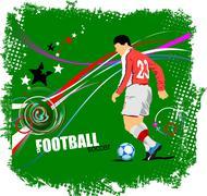 Poster soccer football player. colored vector illustration for designers Stock Illustration