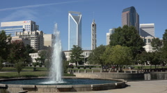 Stock Video Footage of charlotte skyline and water fountain, nc, usa