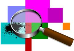 magnifying glass icon. transparent  inside. eps 10 vector - stock illustration