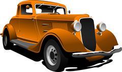 old  orange car. sedan. vector illustration - stock illustration