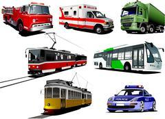 Set of municipal transport images. vector illustration Stock Illustration