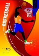basketball poster. vector illustration - stock illustration