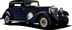 old  blue car. sedan. vector illustration - stock illustration