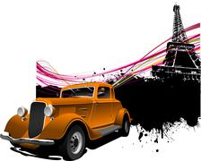 Paris image background with more than 50 years old vintage car . vector illus Stock Illustration