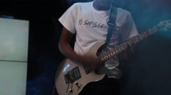 Performer Sings and Plays Guitar to the Gathered Crowd Stock Footage