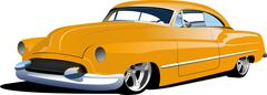 Fifty years old  yellow sedan. vector illustration Stock Illustration