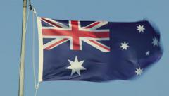 Australian Flag Flying In Strong Winds Stock Footage
