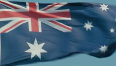 Australian Flag Flying on Windy Day Stock Footage