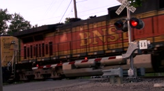 Train passing the Cross Guard Stock Footage