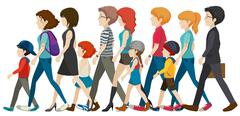 A group of people without faces - stock illustration