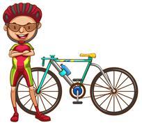 A cyclist - stock illustration