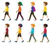 Faceless young men walking - stock illustration