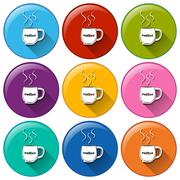 Circle buttons with cups of coffee Stock Illustration