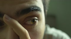 4K Anxious Depressed Eye Closeup Stock Footage