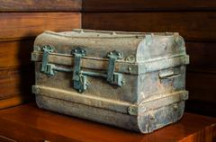ancient metal chest - stock photo