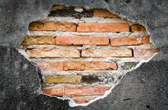 cracked concrete  brick wall background,concept obstacle and barricade. - stock photo