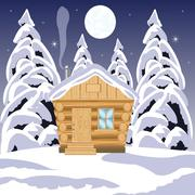 House in wood Stock Illustration
