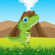 Stock Illustration of dinosaur on glade