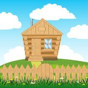 House on hill Stock Illustration
