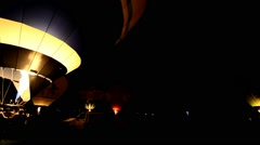 Colorful hot air balloons at night Arkistovideo