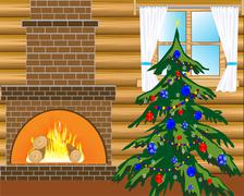 room with natty fir tree - stock illustration