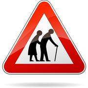 pedestrians warning sign - stock illustration