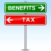 benefits and tax directional signs - stock illustration