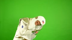 Astronaut wakes up late - green screen Stock Footage