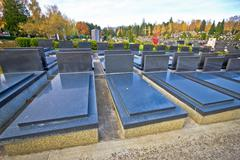 unmarked and unnamed cemetary graves - stock photo